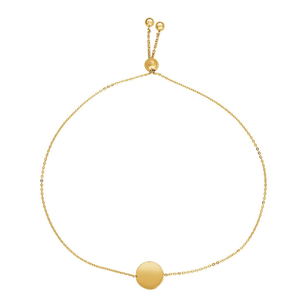 Adjustable Bracelet with Shiny Circle in 14k Yellow Gold