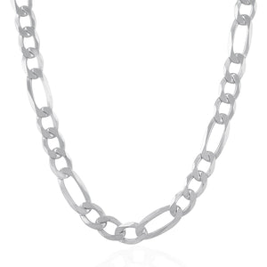 Rhodium Plated 11.6mm Sterling Silver Figaro Style Chain