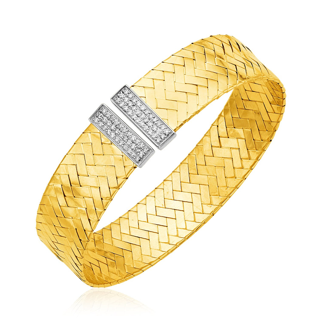 14k Two Tone Gold Basket Weave Bangle with Diamonds