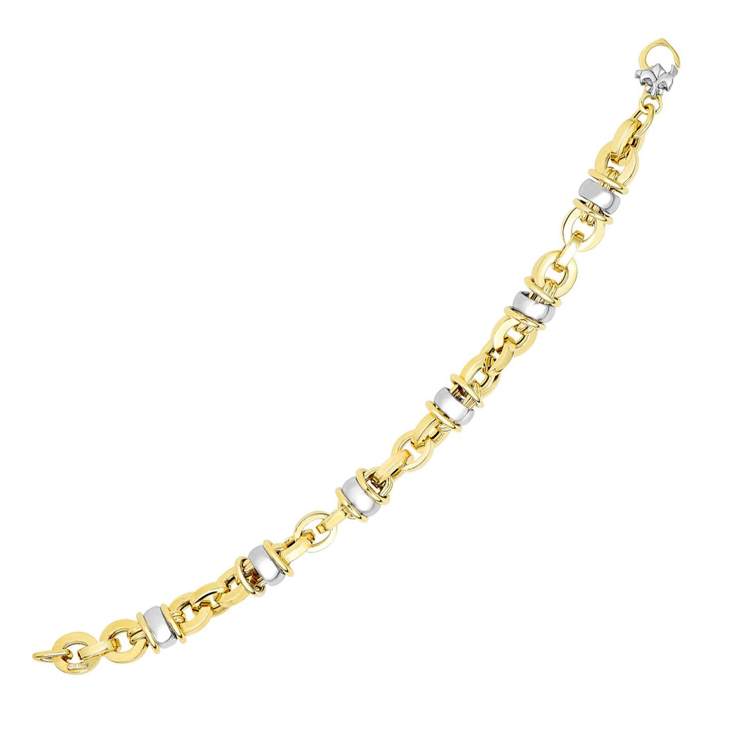 14k Two-Tone Gold Oval Bracelet with Barrel Bead Connectors