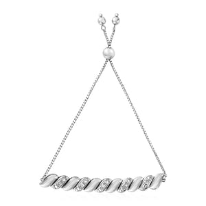 Adjustable Twist Motif Bracelet with Diamonds in Sterling Silver