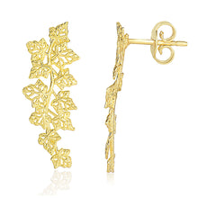 Load image into Gallery viewer, 14k Yellow Gold Earrings with Vine Leaves Style