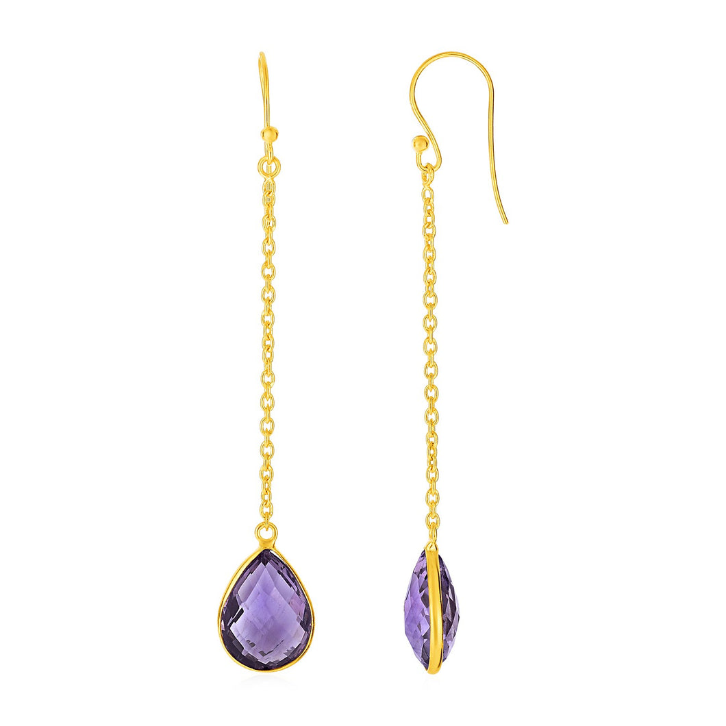 Earrings with Amethyst Brolite Pear Drops with Yellow Finish in Sterling Silver