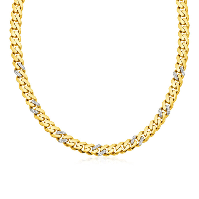 14k Yellow Gold 18 inch Polished Curb Chain Necklace with Diamonds