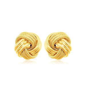 10k Yellow Gold Love Knot with Ridge Texture Earrings