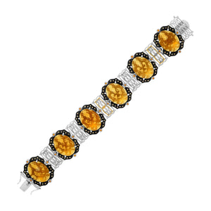 18k Yellow Gold & Sterling Silver Bracelet with Citrine,  Quartz,  and Diamonds