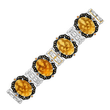 Load image into Gallery viewer, 18k Yellow Gold & Sterling Silver Bracelet with Citrine,  Quartz,  and Diamonds