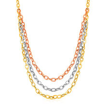 Load image into Gallery viewer, Three Strand Oval Link Necklace in 14k Tri Color Gold