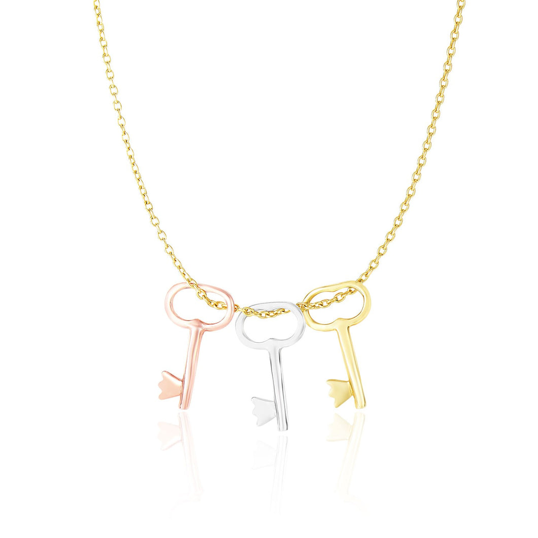 14k Tri-Color Gold Chain Necklace with Skeleton Key Pendants
