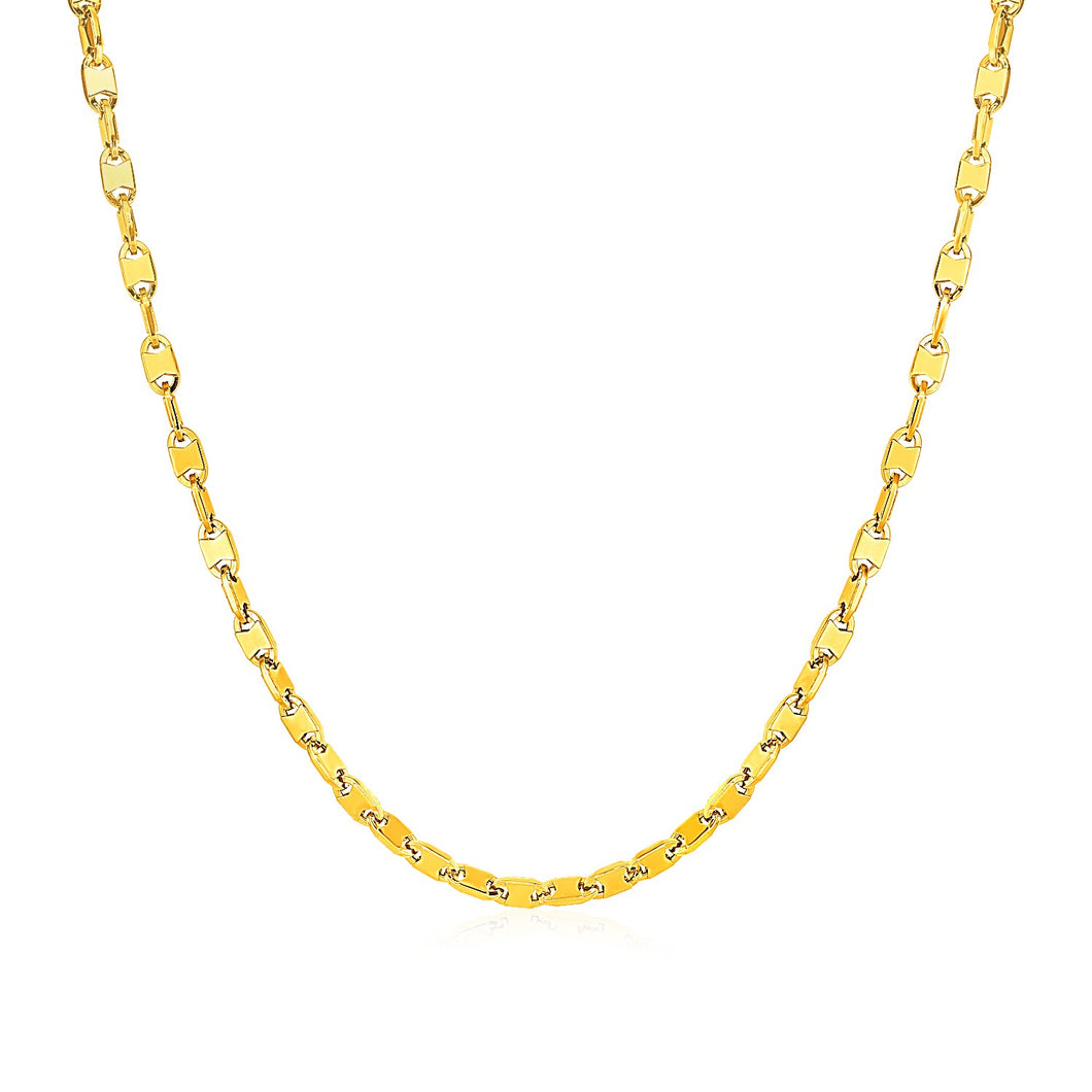 Mens Polished Link Necklace in 14k Yellow Gold