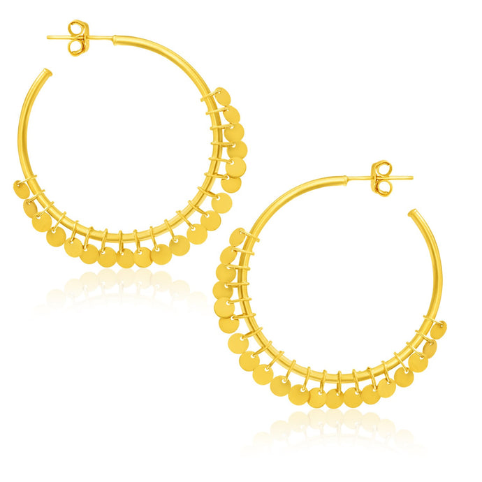 14k Yellow Gold Hoop Style Earrings with Dangling Sequins