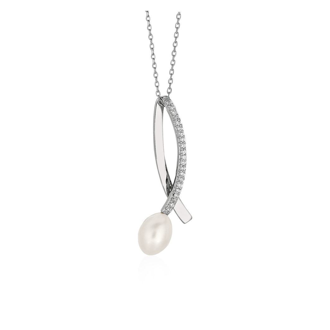 Shiny Twist Pendant with Freshwater Pearl and Cubic Zirconia in Sterling Silver