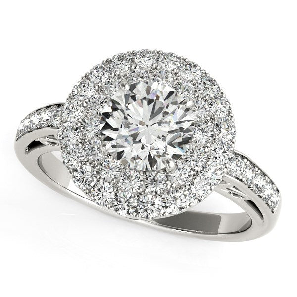 14k White Gold Diamond with Two-Row Pave Border Engagement Ring (2 cttw)