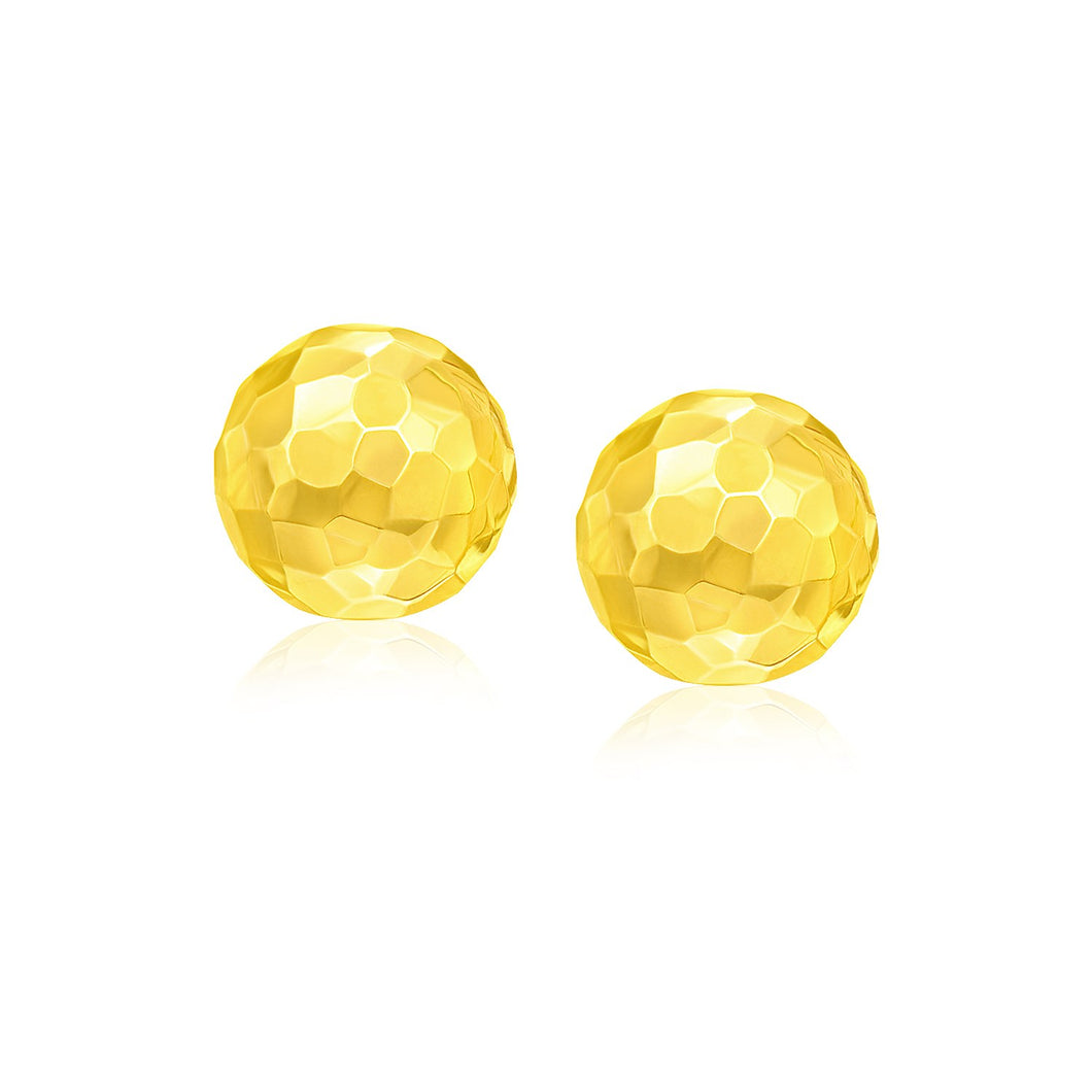 14k Yellow Gold Round Faceted Style Stud Earrings