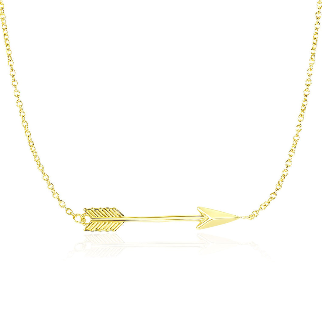 14k Yellow Gold Chain Necklace with Horizontal Arrow Pendant