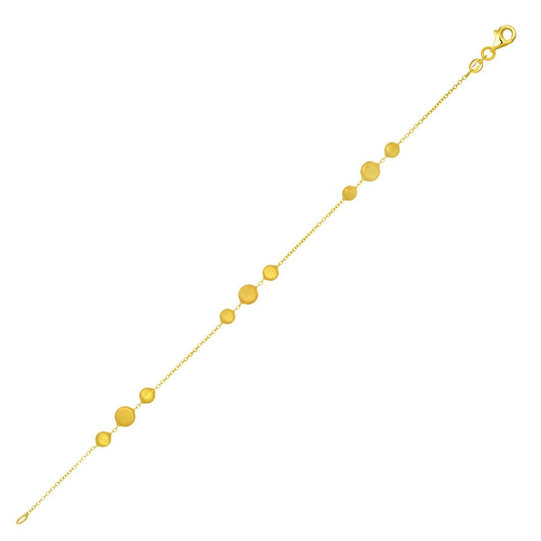 14k Yellow Gold Chain Bracelet with Graduated Pebble Stations