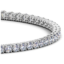 Load image into Gallery viewer, 14k White Gold Round Diamond Tennis Bracelet (4 cttw)