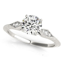 Load image into Gallery viewer, 14k White Gold Diamond Engagement Ring with Side Clusters (1 1/8 cttw)