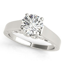 Load image into Gallery viewer, 14k White Gold Antique Style Solitaire Round Diamond Engagement Ring (1 cttw)