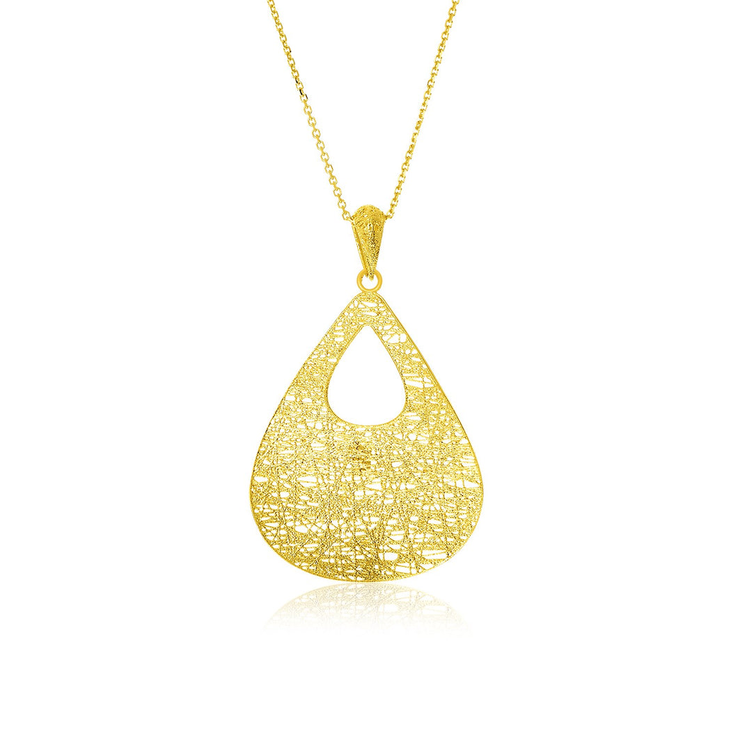 14k Yellow Gold Mesh Cutout Teardrop Pendant