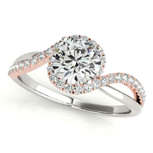 Load image into Gallery viewer, 14k White And Rose Gold Bypass Band Diamond Engagement Ring (1 1/8 cttw)