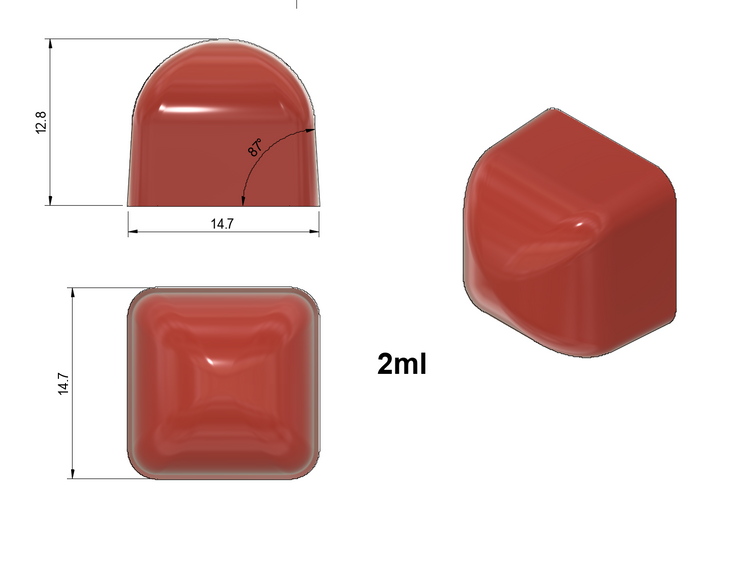 2 ml Square Gummy Mold - With Rounded Top - Half Sheet - 387 cavity