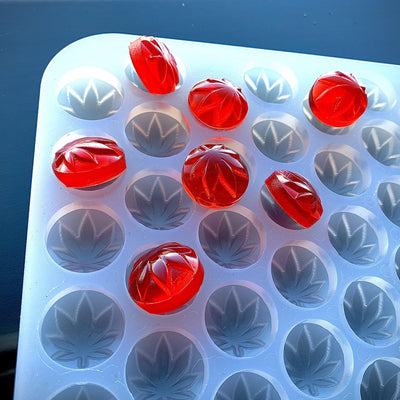 Marijuana leaf candies on mold