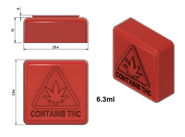 6.3 ml gummies embossed with state approved contains thc logo for massachusetts, maine, and rhode island