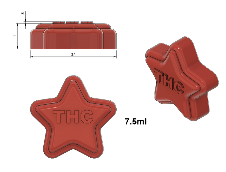 THC Star Mold - Large - Half Sheet - 7.5 mL - 91 Cavities - Vector Molds