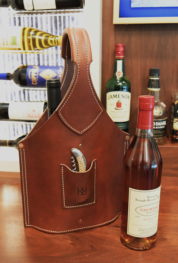 Double Barrel Leather Bottle Tote