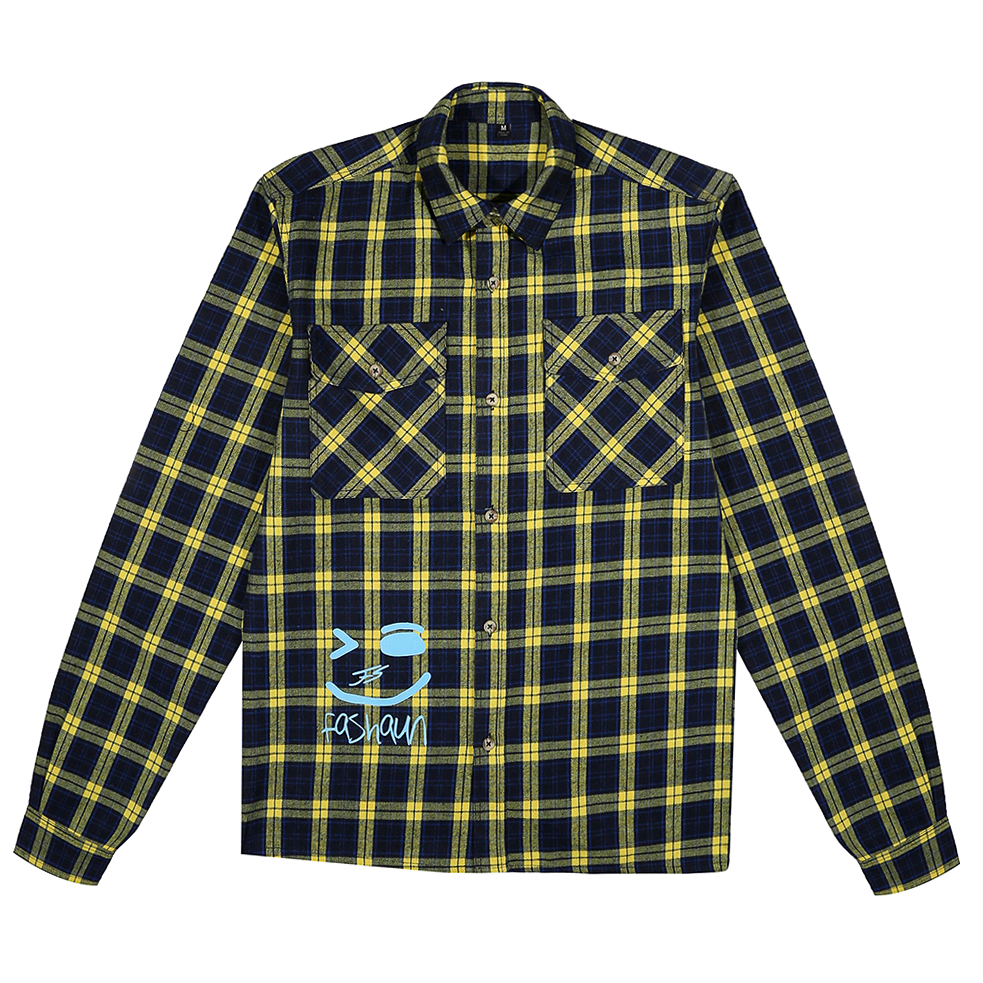 YELLOW AND PASTEL BLUE FLANNEL FASHAUN SHIRT