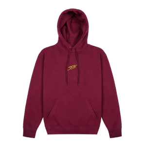 BURGUNDY AND YELLOW BRUSHED HOODIE