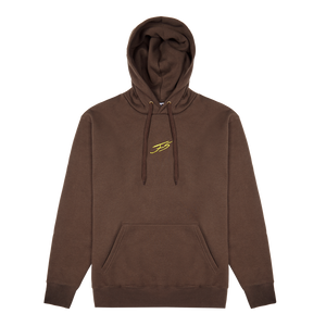 CHOCOLATE AND YELLOW BRUSHED HOODIE