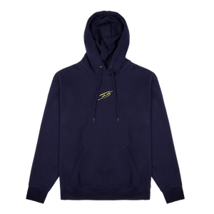 NAVY BLUE AND YELLOW BRUSHED HOODIE