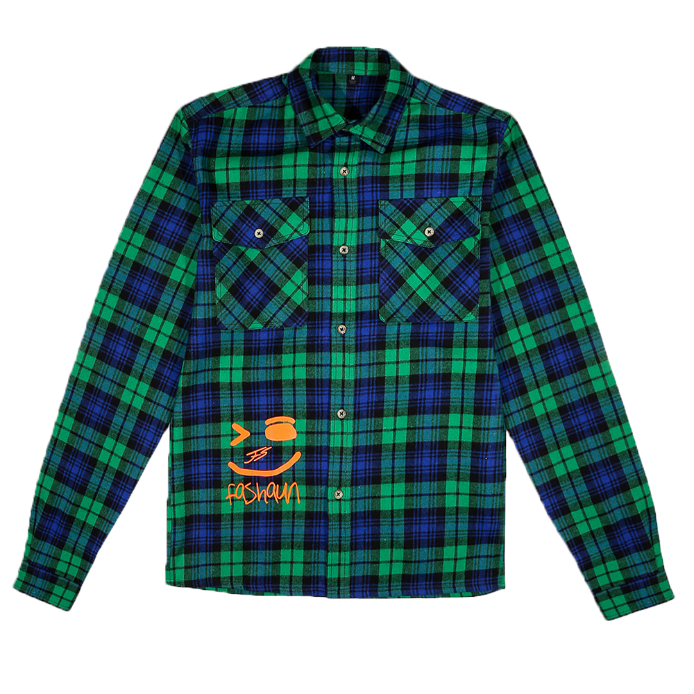 GREEN AND FLUORESCENT ORANGE FLANNEL SHIRT