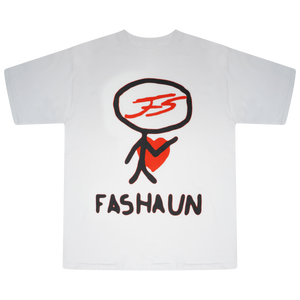 """VALEN"" WHITE AND RED FASHAUN T-SHIRT"