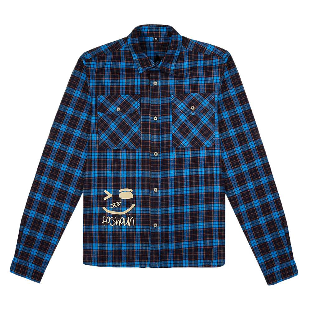 BLUE, NAVY BLUE, ORANGE AND BEIGE FLANNEL FASHAUN SHIRT