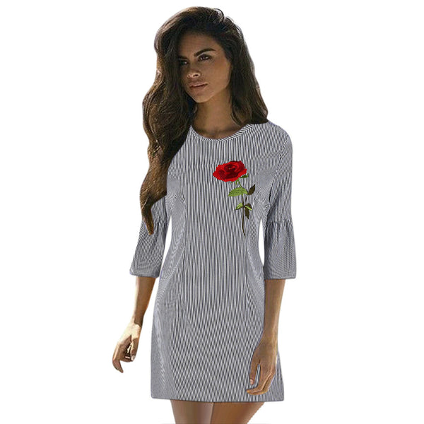 Rose Embroidery Autumn Dress Women Casual Stripe Bodycon Three Quarter Sleeve Evening Party Short Mini Dress vestido curto lisos