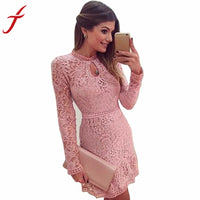 Fashion Women Sexy Pink Hollow Out Lace Long Sleeve Slim Dress clubwear Party MIni Dress