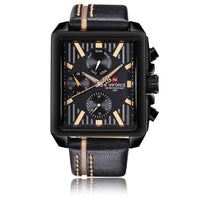 Luxury Genuine Leather Quartz Men Watch Square Dial 3ATM Water-Proof Man Casual Wristwatch with Sub-dials + Box
