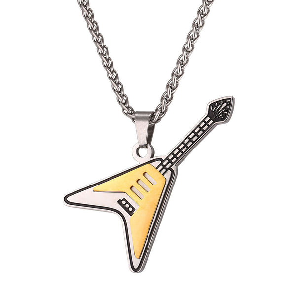 U7 Guitar Pendant Necklace Stainless Steel  Hiphop Rock Musical Jewelr