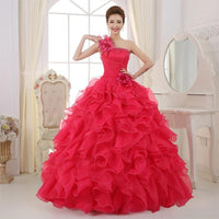 Beautiful and Romantic 2018 Colorful Organza One Shoulder Quinceanera Evening Gown