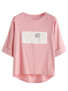 Pink Contrast Daisy Print Cuffed T-shirt