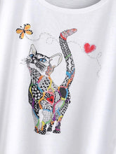 Load image into Gallery viewer, Cat Print Loose Tee