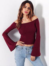 Load image into Gallery viewer, Bell Sleeve Off Shoulder Ribbed Tee