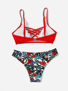 Swimsuit - Floral Print Crisscross