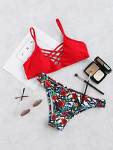 Load image into Gallery viewer, Swimsuit - Floral Print Crisscross