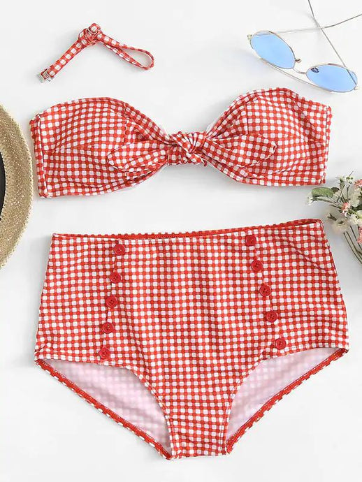 High Waisted Bikini - Gingham Knot