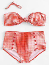 Load image into Gallery viewer, High Waisted Bikini - Gingham Knot