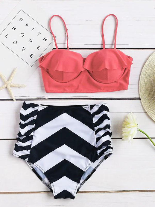 Womens Swimsuits - Chevron Print Ruffle Design